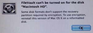 filevault partition error